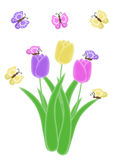 Isolated purple pink and yellow butterfly and tulip spring and easter illustration Royalty Free Stock Image
