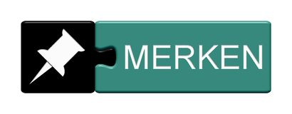 Puzzle Button: Memorise german. Isolated Puzzle Button with Symbol showing Memorise in german language Stock Photo