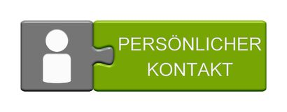 Puzzle Button: Personal Contact german. Isolated Puzzle Button with Symbol showing Personal Contact in german language Stock Image