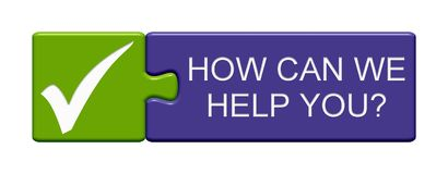 Puzzle Button: How can we help you? vector illustration
