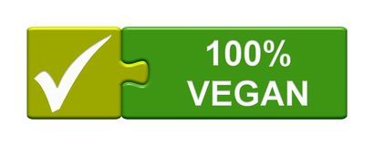 Puzzle Button: 100% vegan. Isolated Puzzle Button with Tick Symbol showing 100% Vegan royalty free illustration