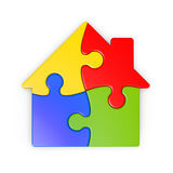 Isolated puzzle of a house with clipping path. Isolated puzzle of a house, jigsaw with clipping path for each piece, prepared as multiplier layer for color Vector Illustration