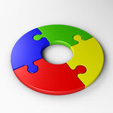 Isolated puzzle pieces to place concepts. With clipping path Stock Photo
