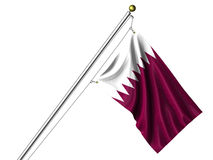 Isolated Qatari Flag Stock Image
