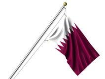 Isolated Qatari Flag Stock Image