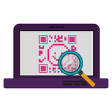 Isolated qr code and laptop design Royalty Free Stock Photos