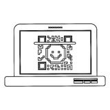 Isolated qr code and laptop design Stock Image