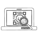 Isolated qr code and laptop design Stock Images