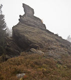 Isolated quartzite rock on Vysoky kamen hill in Krusne hory mountains Stock Photography
