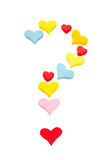Isolated question mark of different colorful hearts Stock Photography