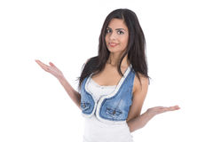 Isolated questioner view of a young woman presenting advantages Royalty Free Stock Photos