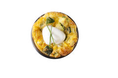 Isolated Quiche Appetizer. Quiche appetizer topped with sour cream and chives.  Isolated on a white background Royalty Free Stock Photography