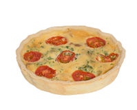 Isolated Quiche Lorraine. Stock Photo