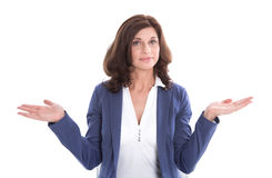 Isolated quizzically attractive senior female. Royalty Free Stock Photos