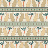 Isolated Rabbits with Carrots Retro Vintage Style Seamless Pattern Vector. Royalty Free Stock Photos