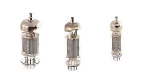The isolated radio tubes. Electronic lamps on the white Royalty Free Stock Photography