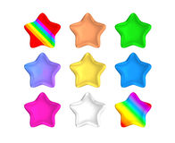 Isolated rainbow color metallic stars Stock Images