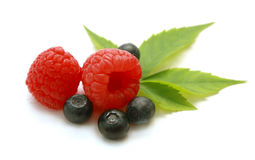Isolated Raspberry And Blueberry Stock Photo