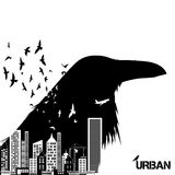 Isolated raven head silhouettes with double exposure effect. stock illustration
