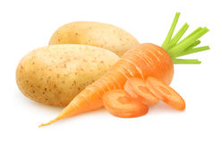Isolated raw carrot and potatoes Royalty Free Stock Photography