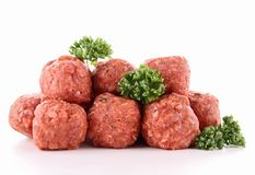 Isolated raw meatballs on white Stock Photo