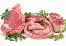 Isolated raw meats Royalty Free Stock Image