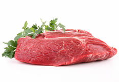 Isolated raw piece of beef Royalty Free Stock Image