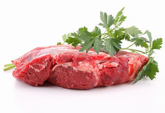 Isolated raw piece of beef Royalty Free Stock Images