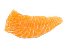 Isolated raw sliced salmon Stock Image