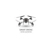 Isolated rc drone logo on white. UAV technology logotype. Unmanned aerial vehicle icon. Remote control device sign. Surveillance vision multirotor. Vector Royalty Free Stock Image