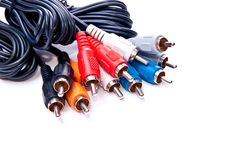 Isolated RCA cables Stock Image