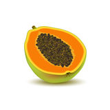Isolated realistic colored half slice of juicy orange papaya, pawpaw, paw paw with seeds with shadow on white background. Royalty Free Stock Photo