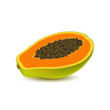 Isolated realistic colored half slice of juicy orange papaya, pawpaw, paw paw with seeds with shadow on white background. Side vie Stock Photo