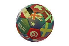 Isolated realistic football with flags of countries participating in the World Cup 2018, in the center of Australia, Switzerland,. Denmark, Sweden, Tunisia Royalty Free Stock Photos