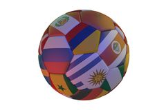 Isolated realistic football with flags of countries participating in the World Cup 2018, in the center of Colombia, Uruguay, Costa. Rica, Senegal and Russia, 3d Stock Photography