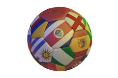 Isolated realistic football with flags of countries participating in the World Cup 2018, in the center of Costa Rica, England, Spa. In, Nigeria, Uruguay Stock Photo