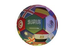 Isolated realistic football with flags of countries participating in the World Cup 2018, in the center of Saudi Arabia, Egypt,. Mexico, Tunisia, Belgium and Stock Images