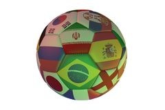 Isolated realistic football with flags of countries participating in the World Cup 2018, in the center of Spain, Brazil, Iran, Eng. Land, Russia and Japan, 3d Royalty Free Stock Photos