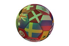 Isolated realistic football with flags of countries participating in the World Cup 2018, in the center of Sweden, Denmark, Austral. Ia and Russia, 3d rendering Royalty Free Stock Photo