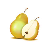 Isolated realistic sliced pears for your design Royalty Free Stock Images