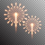 Isolated realistic vector fireworks. Set of isolated realistic vector fireworks on transparent background Royalty Free Stock Photo