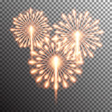 Isolated realistic vector fireworks. Set of isolated realistic vector fireworks on transparent background Royalty Free Stock Photos