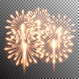 Isolated realistic vector fireworks. Set of isolated realistic vector fireworks on transparent background Royalty Free Stock Images