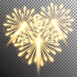 Isolated realistic vector fireworks. Set of isolated realistic vector fireworks on transparent background Royalty Free Stock Image