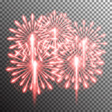 Isolated realistic vector fireworks. Set of isolated realistic vector fireworks on transparent background Royalty Free Stock Photography