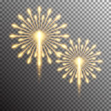 Isolated realistic vector fireworks. Set of isolated realistic vector fireworks on transparent background Stock Photo