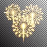 Isolated realistic vector fireworks. Set of isolated realistic vector fireworks on transparent background Stock Photography