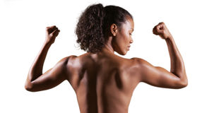 Isolated rear view of mixed race woman athlete Royalty Free Stock Images