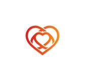 Isolated red abstract monoline heart logo. Love logotypes.  Stock Photo