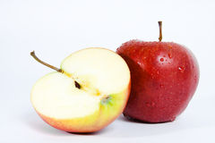 Isolated red apple. Macro Royalty Free Stock Images